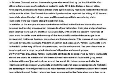 On World Press Freedom Day, Belqees TV mourns three journalists killed while reporting; calls for serious action